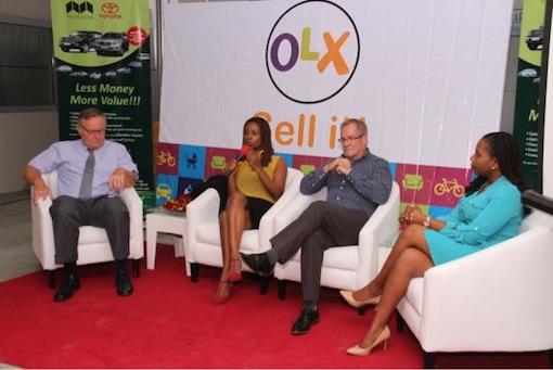 Caption: L-R David Edwards; Managing Director Mandilas; Lola Masha; Country Manager, OLX; Stephen Gladwin; GM Mandilas