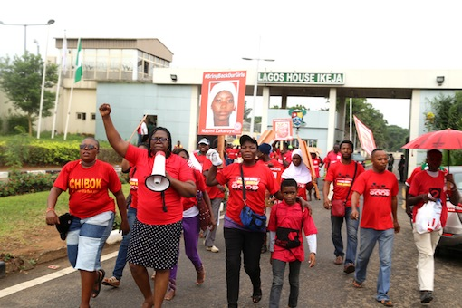 members of Women for Peace and Justice at Lagos House Alausa, Ikeja, marking the 500 days of Chibok Girls.  Photo Idowu Ogunleye