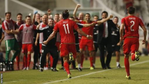 Gareth Bale celebrates after scoring for Wales