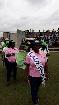 Female journalists during Match Past at the opening   ceremony of the NUJ Games on Monday at the Legacy Puitch of the National   Stadium, Surulere, Lagos