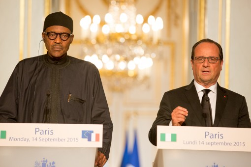 President Francois Hollande and President Buhari hold a news conference