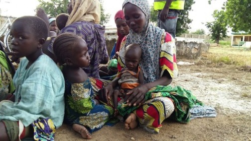 FILE PHOTO: Nigerian troops rescue mothers and children but hundreds are still unaccounted for