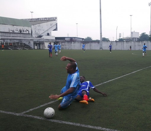 Action during the semi final  match between  Complete Sports and SportsDay played at the Legacy Pitch of the National Stadium,  Lagos at the Lagos NUJ Media Games on Friday.