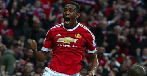 Anthony Martial celebrates his wonder strike for Manchester United