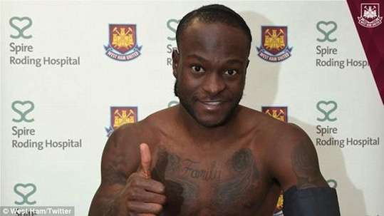 Victor Moses after his medical at West Ham