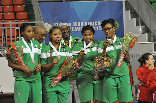 Nigeria's women team pose with their silver medals