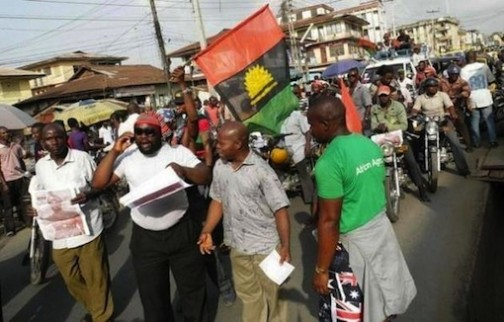 FILE PHOTO: Biafrans protesting in Port Harcourt, Rivers State capital