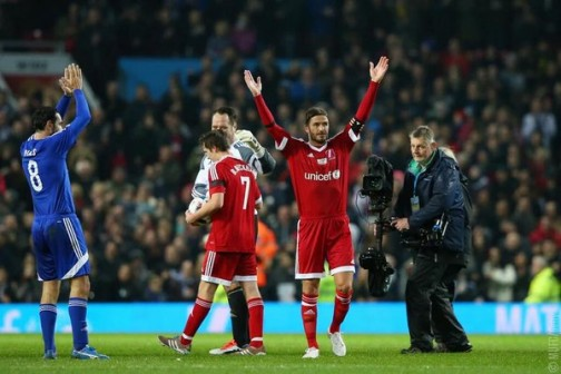 That's it people: Beckham acknowledges the cheers from the fans