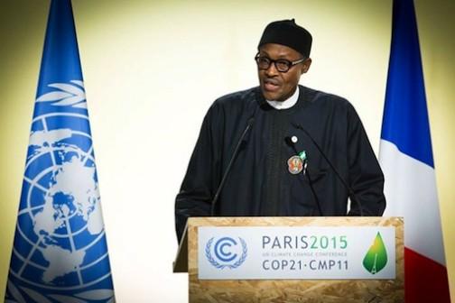 FILE PHOTO: President Muhammadu Buhari speaking at the Climate Change Summit in Paris