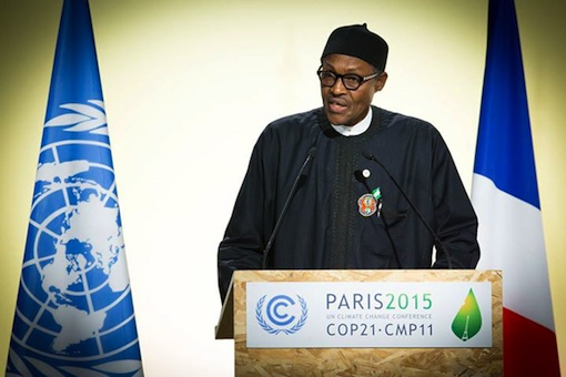 President Muhammadu Buhari speaking at the Climate Change Summit in Paris