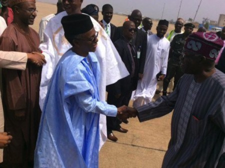 Governor Nasir El-Rufai shake hands with Aiswaju Bola Tinubu