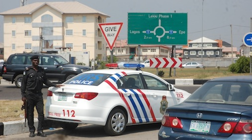 Newly commissioned and rebranded Rapid Response Squad (RRS) saloon cars patrolling on the Lekki-Expressway, on Monday, November 30, 2015.