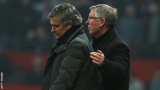 L-R: Jose Mourinho and Sir Alex Ferguson