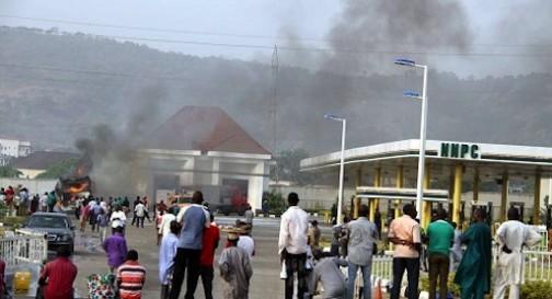 FILE PHOTO: NNPC Mega Station on fire