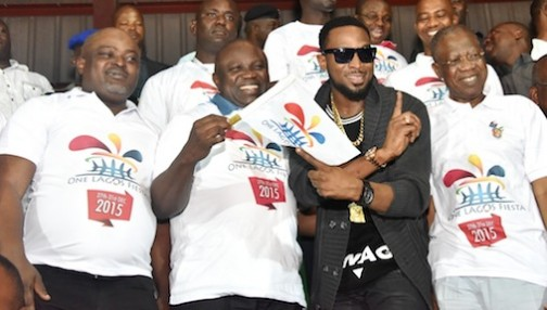 Lagos State Governor, Mr. Akinwunmi Ambode (2nd left), with Speaker, Lagos State House of Assembly, Rt. Hon. Mudashiru Obasa; International Music Act, Dapo Oyebanji popularly known as Dbanj and Minister for Information & Culture, Alhaji Lai Mohammed, during the flag off of the One Lagos Fiesta, at the Agege Mini Stadium, Agege, Lagos, during the One Lagos Fiesta 2015.