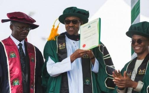 FILE PHOTO: President Muhammadu Buhari awarded a honourary degree by Kaduna State University