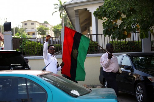 Pro Biafra protesters in Abuja on Tuesday morning around the magistrate court zone 2