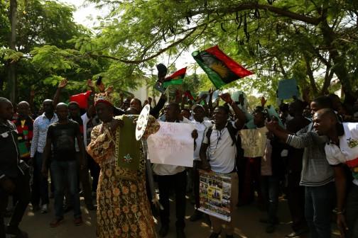 FILE PHOTO: Pro-Biafra protesters in Abuja