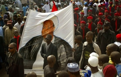 FILE PHOTO: A demonstration staged in northern Nigeria, calling for the release of Ibrahim Zakzaky, depicted here on a banner in Kano, who was detained following a military crackdown on his followers ©Pius Utomi Ekpei (AFP/File)
