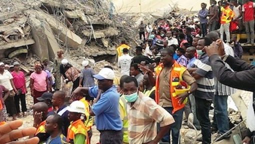 Scene of the Synagogue building collapse