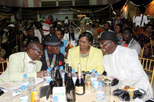Chairman Nigerian Institute of Architects, Arc. Dike Emmanuel, National President, Nigerian Institute of Architects, Arc. Tonye Oliver Braide, Rivers State Deputy Governor, Dr. (Mrs) Ipalibo Harry Banigo, Senator representing Rivers South East, Senator George Thompson Sekibo, exchanging views during the Inauguration Dinner of the 26th President of the Institute of Architects, Arc. Tonye Oliver Braide, in Port Harcourt.