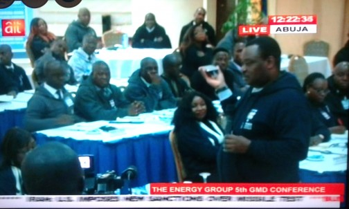 Jimoh Ibrahim and his senior management staff at a lecture in Abuja which was almost disrupted by unpaid workers on Monday, 18 Jan. 2016