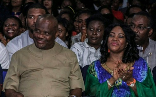 Wife of Rivers State Governor, Justice Suzzette Eberechi Wike,  Rivers State Governor, Nyesom Ezenwo Wike and Speaker of the Rivers State House of Assembly, Adams Dabotorudima   during the last day of the 5 Nights of Glory at the Headquarters of the Salvation Ministries in Port Harcourt on Friday