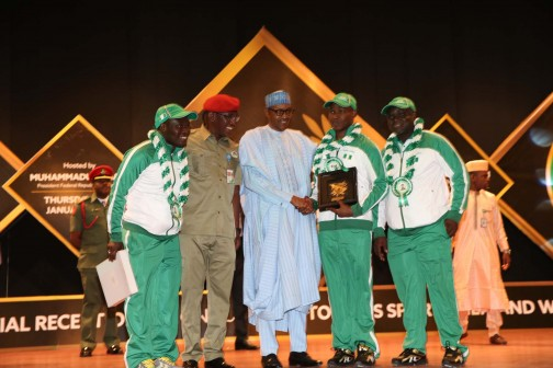 President Muhammadu Buhari's reception for outstanding athletes/officials who did Nigeria proud in recent sports competitions held at the Presidential Villa in Abuja. PHOTO SUNDAY AGHAEZE. JAN 21, 2016