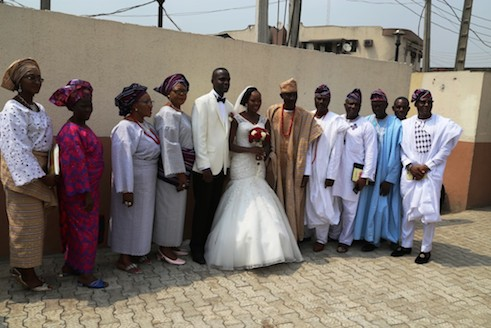 Extended family also take photo with the couple