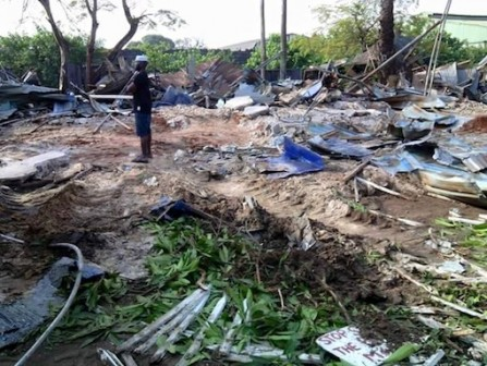 The remains of the Artists' Village after it was demolished