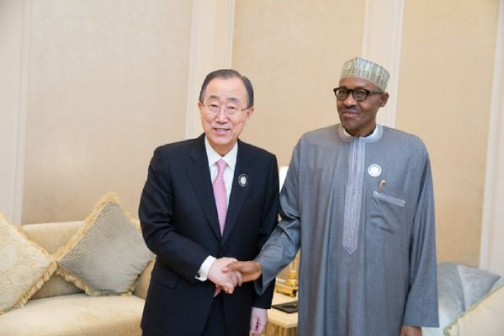 UN Secretary General, Ban ki-Moon and President Muhammadu Buhari of Nigeria