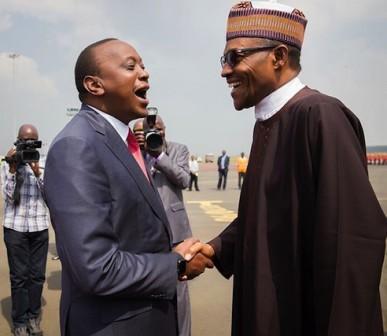 President Uhuru Kenyatta of Kenya welcomes President Muhammadu Buhari