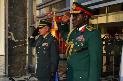 L-R: Colombia's army chief and Buratai