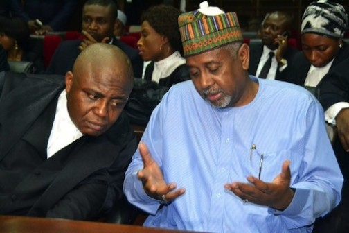 Embattled Sambo Dasuki in court discussing with his lawyer