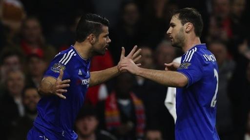 Diego Costa celebrates with Branislav Ivanovic