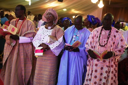 Father of the groom, Babatunde Onanuga, Ms Bisi Thomas, Adelaja Thomas and Chief  Oluwatosin Ajayi at the church service