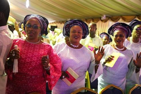 From left,  Toyin Onanuga, Mrs Jumoke Onanuga and  Mrs Gbade Onanuga Sofeso at the church
