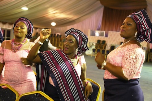 Sisters of the groom, R-L, Mrs Bola Niyi, Adenike Ajayi and a guest, Folake Anjorin