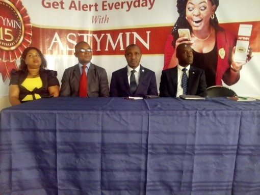 R-L: Mr.Femi Ajala(Product Mnanager, OTC), Mr. Ola Ijimakin(General Manager, Marketing), Mr. Friday Enaholo (Marketing Manager), Mrs. Yetunde Adesola(School Programme Coordinator) at the 15th anniversary of Astymin and launch of Astymin Promo in Lagos on Monday, 25 January, 2016