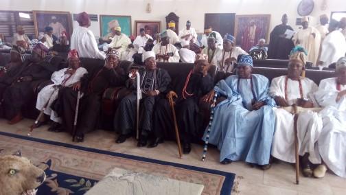 Ijebu traditional Council joining Awujale to welcome Ooni to Ijebuland.  Photo: Abiodun Onafuye, Abeokuta