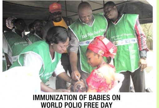 Immunisation of babies on world polio free day