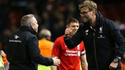 Can't Look: Liverpool's manager, Jurgen Klopp couldn't watch