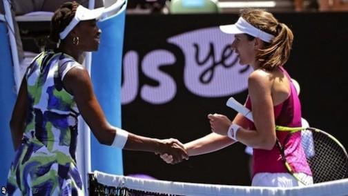 All The Best: Venus Williams shake hands with Johanna Konta after losing to the Briton