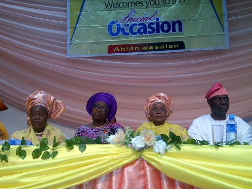 Lagos First Lady, Bolanle Ambode (2nd left), Hajia Bintu-Fatima Tinubu (3rd left) and other guests at the event.
