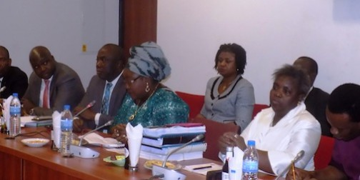 Acting Managing Director/Chief Executive Officer, Niger Delta Development Commission, NDDC, Mrs. Ibim Semenitari, 4th right, and Directors of NDDC during the Senate Committee hearing on the Commission in Abuja