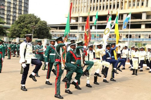 March past by the military at theTafawa Balewa Square parade ground in Lagos