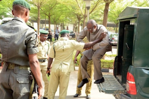 Metuh arriving the court