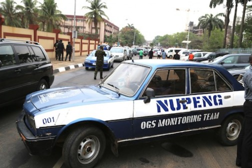 Road Block: NUPENG blocked the road leading to the LASG secretariat and offices
