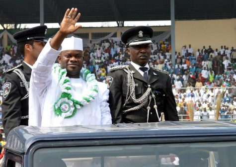Governor Yahaya Bello greets Kogi indigenes after he was sworn in on Wednesday, 27 Jan. 2016