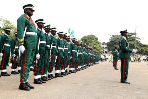 Nigeria Army at the Tafawa Balewa Square during this year's Armed Remembrance Day celebration in Lagos.  Photo: Idowu Ogunleye